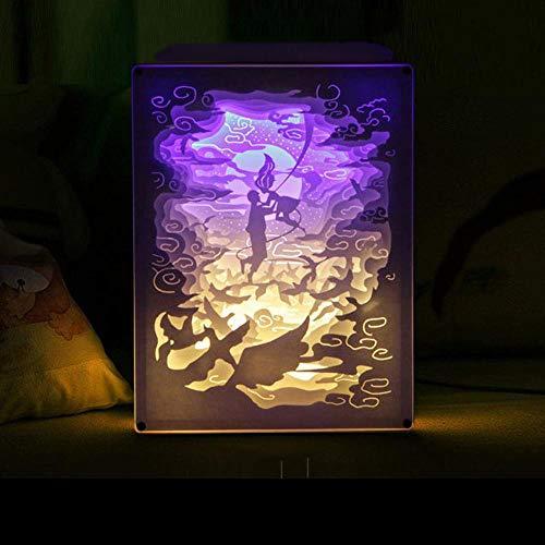 T-YXM 3D Licht und Schatten Papier Carving Lampe Mädchens Nachttisch Tisch Lampe Acryl-Box