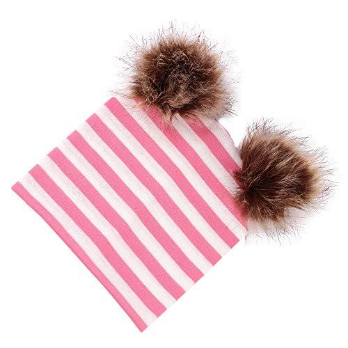 Odjoy-fan-bambino doppio strato cotone doppia palla cappello lavorato a maglia-beanie bambino inverno sciarpa bambini cappelli invernali beanie
