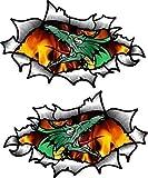 Pequeño Pareja de Oval Rasgado Abierto Desgarrado Efecto Metal Diseño con Estilo Tatuaje Dragon & Llamas Vinilo Casco de la Moto Pegatina 85x50mm Each