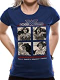 T-Shirt Fitted (Women-S) Retro Squares (Blue)