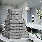 10 PIECE LUXURY TOWEL BALE SET 100% PURE EGYPTIAN COTTON FACE, HAND, BATH TOWELS 500 GSM (Grey)