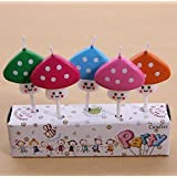 HEMALL 5 PCS Creative Cartoon Party Cake/ Cupcake Toppers Kawaii Butterfly Animals Fruits Parties Candle Party...