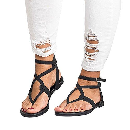 Frauen Sandalen für Frauen liusdh,damen schuheSummer Women Ladies Sandals Cross Strap Flat AnkleRoman Casual Shoes(BK,42) -