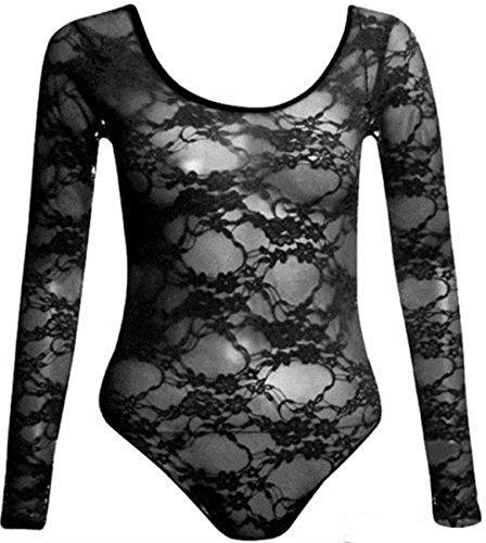 New Womens Plus Size Long Sleeve Scoop Neck Floral Lace Bodysuits Tops ( Black , UK 18 / EU 46 ) (Floral Neck Top)