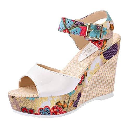 POLP Sandalias Mujer Verano Sandalias de Vestir Plataforma tacón Alto de Playa para Mujer,Casual Zapatos...