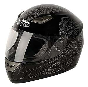 G-MAC NITRO Casque Moto Moko Luxe, Noir/Blanc, XL