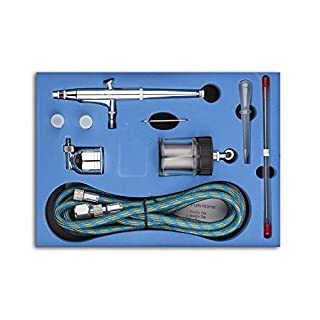 SP134K Professional Dual Action Airbrush Kit 0.2mm/0.3mm/0.5mm Needles 7cc & 22cc Cup Trigger Air-Paint Control Airbrush Set for Art Tattoo Nail Art Makeup Craft Cake Spray Modeling Tool