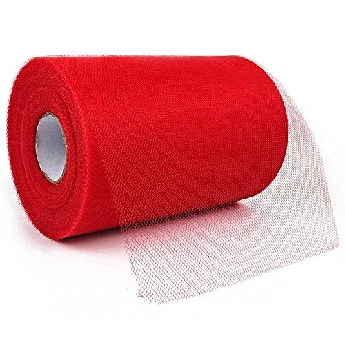 Paor 100Meter 15cm breit Tüll Stoff Band für Party Dekoration Einpacken Craft Schleife Mädchen Tutu Farbe Dunkel Grün/Pink/000Lemon Gelb/Dunkelblau/Weiß rot