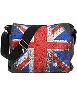 London Union Jack Messenger Bag | Robin Ruth | Black Canvas | Vintage | London Souvenirs | School Bags for Girls Boys & Teenager