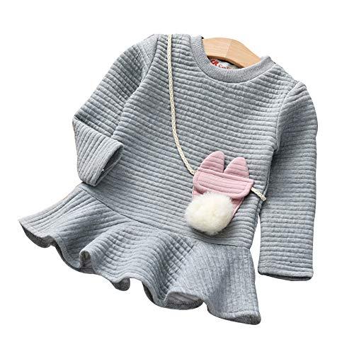 Riou Mantel Baby Kleidung Winter Warme Mantel Kapuzenjacke Kinderjacke Wintermantel Daunenjacke Weihnachten Kleinkind Kinder Mädchen Cartoon Gestreifte Prinzessin Sweatshirt Kleid Outfits (130, Grau)