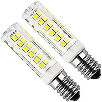 Bomnilla LED E14 Kakanuo 5Watt Equivalente 50W Blanco Fresco 6000K 450LM Campana extractora Non-Regulable AC220-240V 2 Piezas
