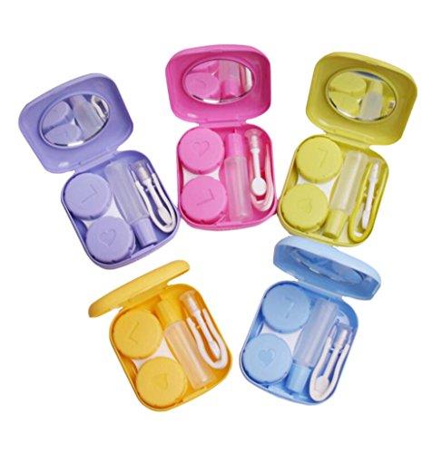 youkara Mini Kontakt Linse Fällen Travel Kit Box Container Aufbewahrung Set tragbar Pocket Größe mit Tiny Spiegel (zufällige Farbe)