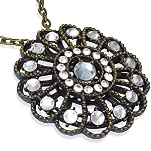 Fashion Kristall Blume Charm Verlängerung Halskette mit Zirkon - Weiß