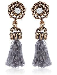 Fasherati Grau Farbige böhmische Stil Quaste Ohrringe für Frauen