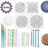 Y-Step - Juego de 26 herramientas de pintura de mandala, incluye 5 plantillas de mandala, 8 varillas acrílicas, 1 bandeja de pintura y 9 herramientas de puntaje de doble cara, 3 pinceles