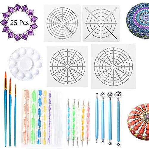 Y-Step 25 Stück Mandala Rock Punktierung Werkzeuge Kunst Malerei Werkzeuge Set,darunter 4 Mandala Stil Schablonen, 8 Acrylstäbe, 1 Farbe Tray und 9 Stücke Doppelseitige Punktierung Werkzeuge, 3 Pinsel