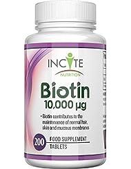 Vitamines de biotine pour la croissance des cheveux 10000 MCG 6 mois + fournissant 200 comprimés de 6 mm meilleurs suppléments contre la perte de cheveux meilleur soin de beauté pour hommes et femmes - biotine 1000MCG d'Incite Nutrition bénéfique pour la santé des cheveux et la croissance des ongles fabriquée au Royaume-Uni