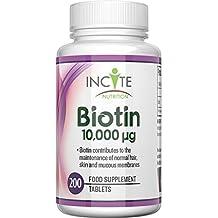Vitaminas para el Crecimiento del Cabello con Biotina 10,000MCG para 6 meses + Suministro de 200 tabletas de 6mm, el mejor suplemento para la caída del ...