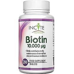 Biotin Haarwuchs Vitamin 10,000MCG 6 Monate + 200 6mm Tabletten - Beste Ergänzungsmittel für Haarausfall Beste Schönheitsbehandlung für Männer und Frauen - Incite Nutrition Biotin B7 Komplex