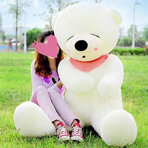 Vercart Schönes Geschenk Plüschbär Riesen Augen geschlossen Plüsch Bär Puppe weiß XXL 140CM (Teddy Bear Für Mädchen)