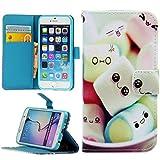 Handy Lux® Schutz Hülle Tasche Kartenfächer Flip Case Etui Cover Involto Motiv Design Hülle BookStyle (Samsung Galaxy A3 (Modell 2016), Marshmallows)
