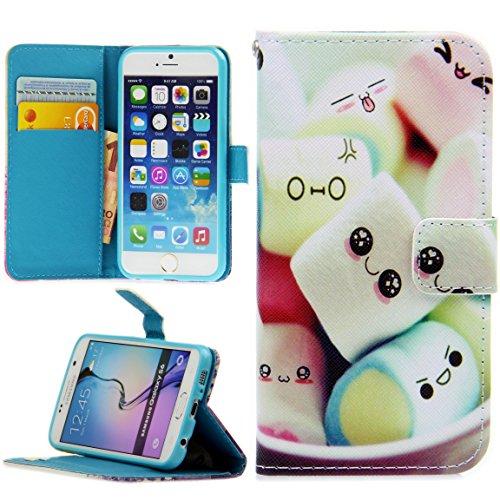 Handy Lux® Schutz Hülle Tasche Kartenfächer Flip Case Etui Cover Involto Motiv Design Hülle BookStyle für Samsung Galaxy S5 Mini, Marshmallows Mini-flip-cover