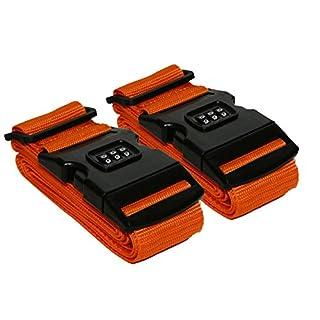 2 Stück Kofferband Koffergurt Kofferschloss Gepäck Schloss Zahlenschloss (Orange),all-around24®