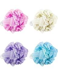 Com-Four Fleur de douche XL / Éponge de bain (lot de 4, multicolore)