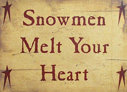 Farmisms 4x 3Inspirierende Holz rustikal Land Schilder für Country Farm Living--Snowmen Melt Your Heart (Halloween Ideen Block Für Eine Party)