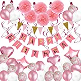 Weimi Geburtstag Dekorationen, 79 Stück Luftballons Rosa Party Dekoration für Mädchen Frauen mit rosa Happy Birthday Banner Seidenpapier Blumen hängen wirbelt für Birthday Party Supplies