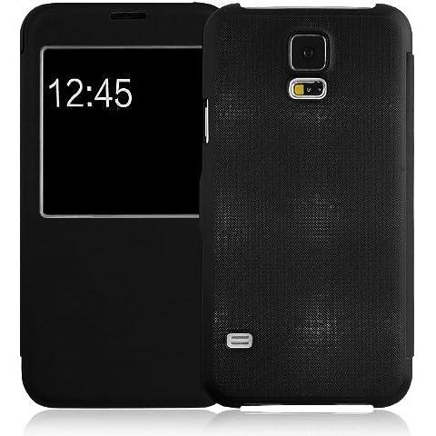JAMMYLIZARD | Funda Tipo Libro Para Samsung Galaxy S5 Flip Cover Con Cierre Magnético, NEGRO