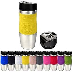 Schramm Tasse Isotherme 10 Couleurs avec Couvercle Isotherme de Rechange env. BPA-Frei Coffee to go Mug Isotherme de Voyage 400 ML Jaune