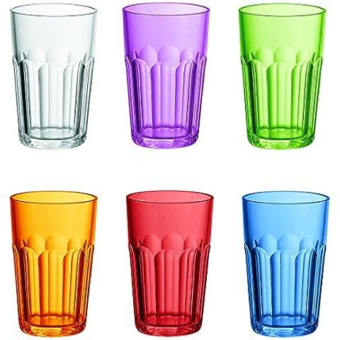 Fratelli Guzzini Happy Hour Set 6 Bicchieri Molati Alti, SAN, Multicolore, 0.02x8x41 cm