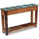Festnight table console extensible en bois de 3 tiroirs table de bureau 120 x 30 x 76 cm