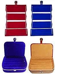Afrose Combo 1 Pc Blue Earring Folder 1 Pc Red Ear Ring Box 1 Pc Blue Ring Box And 1 Pc Ring Jewelry Vanity Box