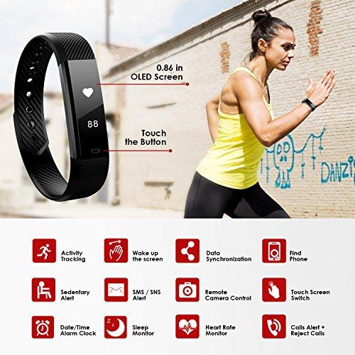 Pulsera Actividad MiuVei Pulsera Inteligente con 3 Correas Pulsómetro Monitor de Ritmo Cardíaco y Sueño  Podómetro  Pulsera Impermeable Bluetooth Compatible con IOS y Android