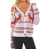 IZHH Damen Oberteile, Weihnachts-Print Langarm-Button Tops Cardigan Party Tops Outdoor-Shirt Urlaub tragen Party Outdoor Daily Tops(Weiß,Large)