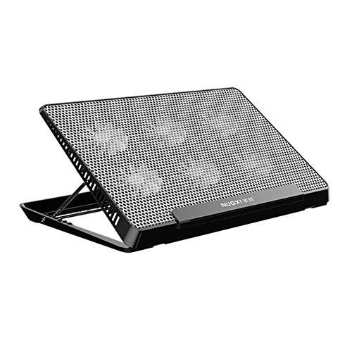 Aluminium-basis-pad (BESTSUGER Notebook-Kühler, 5 Ventilatoren Laptop Cooling Pad, Aluminium-Basis, 6-Gang und 2 USB-Ports Adjustable Monts Laptop Stand Höhenwinkel,Black)