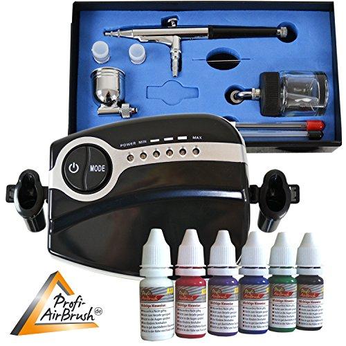 Profi- Airbrush Kompressor Set Carry II Color mit 6 Farben Set - Kit mit sehr leisem Airbrush Kompressor - Universal-Airbrush-Pistole Double-Action-Gun 134s D 0,2/0,3/0,5 und Druckluftschlauch -
