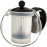 Bodum - 1842-01GVP - Assam - Théière à Piston en Verre - Filtre et Couvercle en Plastique - 0.5 L - Noir