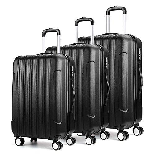 Amzdeal Hartschalenkoffer Trolley Reisekoffer Set mit vier 360°drehbare Doppelrollen und Zahlenschloss Gepäckset Hartschale (45L) (Hartschalen Spinner Leichtes)
