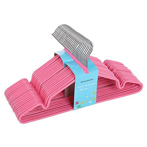 SONGMICS Kinder-Kleiderbügel aus Metall, 20 Stück - mit Beschichtung aus Kunststoff, mit Steg, mit Kerben - rutschfest / platzsparend / für Kleidung von Kindern von 6 Monaten bis 6 Jahren, 30 cm Rosa CRI30P-20