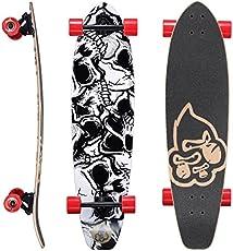 BIKESTAR Premium Canadian Maple Top Mount Komplett Pro Longboard Skateboard für Kinder und Erwachsene auch Anfänger ab ca. 8-10 Jahre ★ 65mm Flex Carving/Cruiser Edition ★