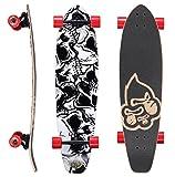 BIKESTAR Premium Canadian Maple Top Mount Komplett Pro Longboard Skateboard für Kinder und Erwachsene auch Anfänger ab ca. 8-10 Jahre ★ 65mm Flex Carving/Cruiser Edition ★ Shudder Skulls Design