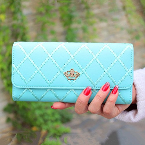 Ouneed® Damen groß Kapazität elegante Krone Luxus Wachs Leder Geldbörsen mit Reißverschluss-Tasche ( Himmelblau) - Elegante Kronen