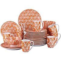 vancasso SAYUKI Juego de Vajillas 32 Piezas Vajillas de Porcelana Colores con Tazas, Platos,