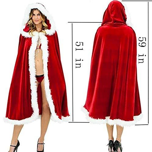 Women Christmas Cloak Velvet Mrs Santa Hooded Cape Costume Adult Christmas Capes