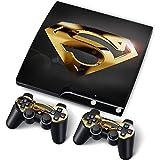 PS3 Slim PlayStation 3 Slim Skin Aufkleber PVC für Konsole + 2 Controller / Pads Schutzfolie Aufkleber Cover Art Gold Superman
