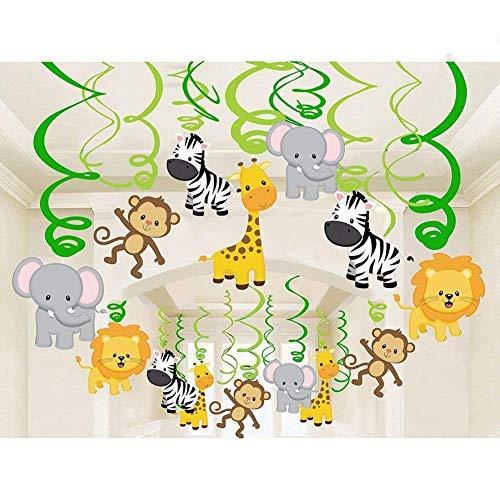Comius 30 Pcs Dschungeltiere Themen- Deckenhänger Spiral Girlanden Deko-Wirbel für Kinderparty Junge und Mädchen Geburtstags Dekoration