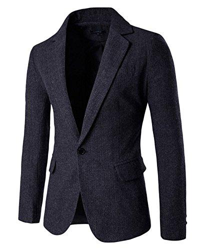 Herren Tweed Sakko Blazer Jacket Freizeit Buisiness Jacke Einreihig Slim Fit Schwarz Grau S